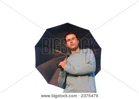 Young Man Wih Umbrella