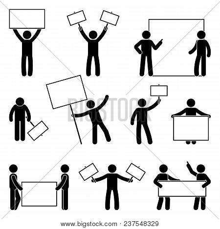 Stick Figure Join Protest Set. Vector Illustration Of People Holding Banner On White
