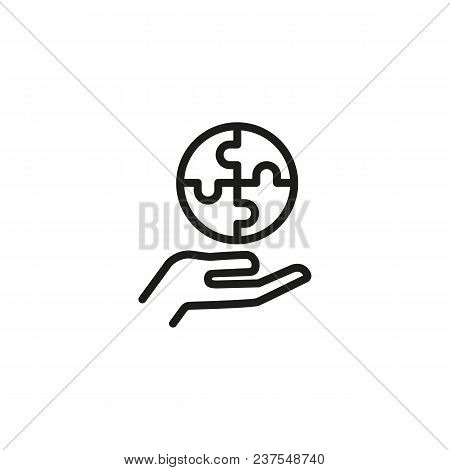 Round Puzzle On Human Hand Line Icon. Jigsaw, Circle, Part. Management Concept. Can Be Used For Topi