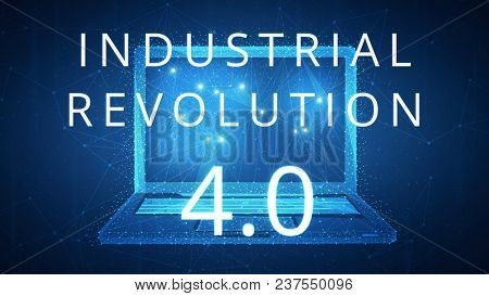 Fourth industrial revolution on futuristic hud background with laptop and blockchain polygon peer to peer network. Industrial revolution and global cryptocurrency blockchain business banner concept.