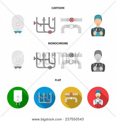 Boiler, Plumber, Ventils And Pipes.plumbing Set Collection Icons In Cartoon, Flat, Monochrome Style