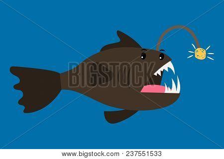 Angler Fish Cartoon Icon On Blue Background, Vector Illustration