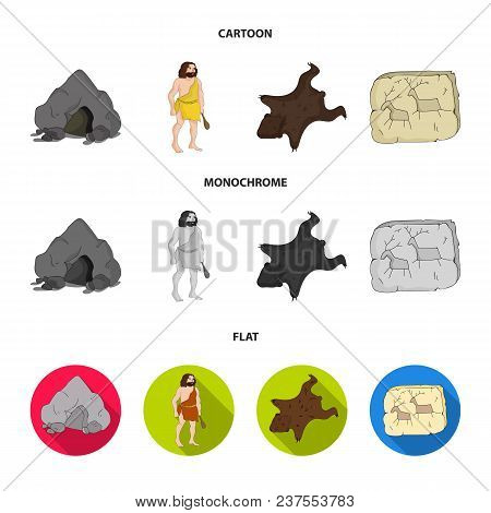 Ancient, World, Stone Age .stone Age Set Collection Icons In Cartoon, Flat, Monochrome Style Vector