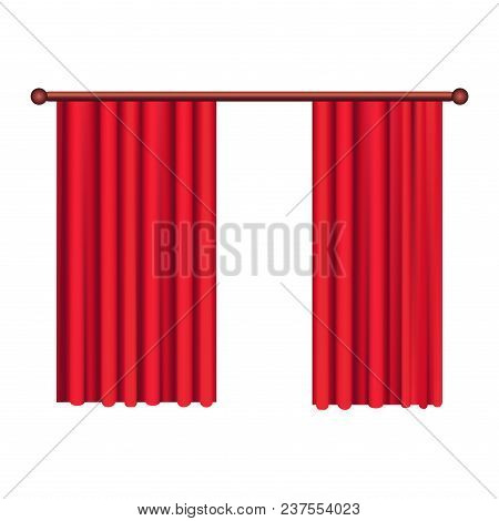 Heavy Straight Drapes Of Red Fabric Vector Isolated On White Background. Classic Curtains In Victori