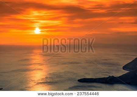 Greek Coastline At Early Morning Sun Rising, Greece Peloponnese Mani. Beautiful Landscape Natural Sc