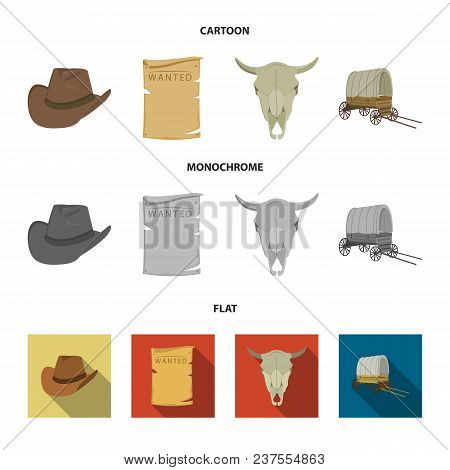 Cowboy Hat, Is Searched, Cart, Bull Skull. Wild West Set Collection Icons In Cartoon, Flat, Monochro