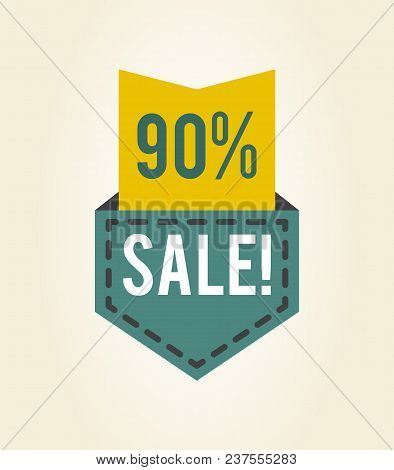 90 Off Sale Clearance Icon With Denim Pocket With Discount Value Inside. Vector Illustration Of Spec