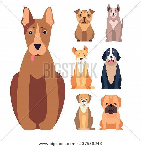 Happy Cute Doggies Sitting With Smiling Muzzle And Hanging Out Tongue Flat Vector Isolated On White.