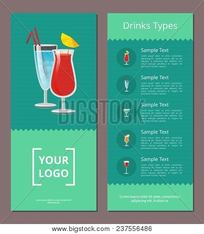 Drink Types Advertisement Poster Design With Alcohol Drinks With Straws And Lemon And Menu List Of B