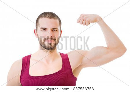 happy young man winning with open arm, isolated on white background
