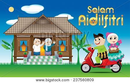 A Couple Is Just Arrive Their Home Town, Ready To Celebrate Raya Festival With Their Parents. With V
