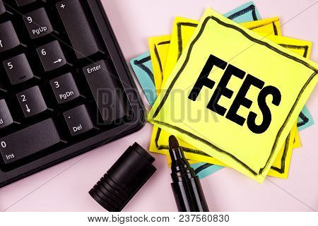 Word Writing Text Fees. Business Concept For Online Creative Agency Charges Product Components Hourl