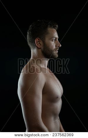 Bearded Man Athlete With Fit Torso In Profile. Sportsman With Muscular Chest And Belly. Bodybuilder