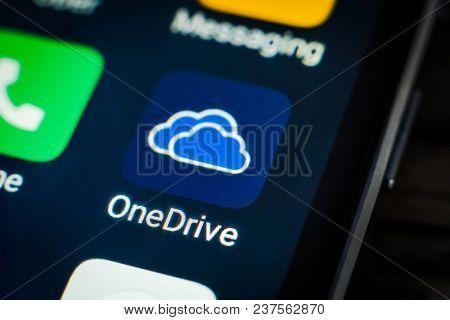 Kharkiv, Ukraine - 23 April, 2018: One Drive application icon on a smartphone screen