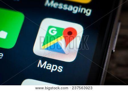 Kharkiv, Ukraine - 23 April, 2018: application icon google maps on a smartphone screen