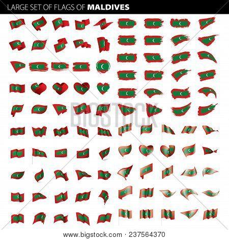 Maldives Flag, Vector Illustration On A White Background. Big Set