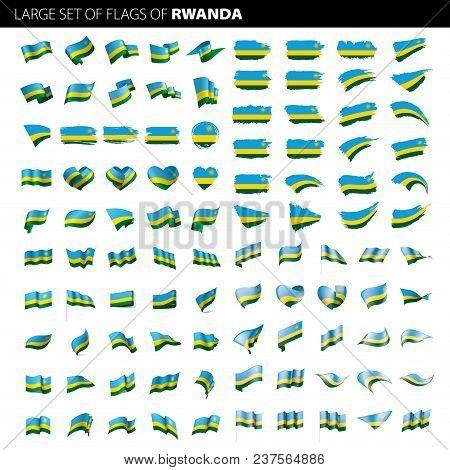 Rwanda Flag, Vector Illustration On A White Background. Big Set