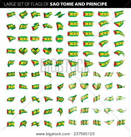 Sao Tome And Principe Flag, Vector Illustration On A White Background. Big Set
