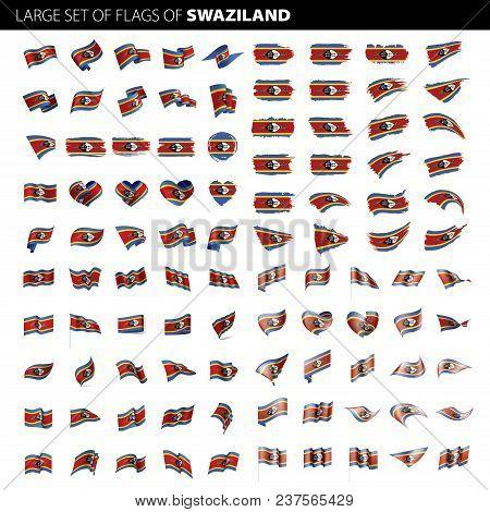 Swaziland Flag, Vector Illustration On A White Background. Big Set