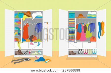 Cartoon Untidy And After Tidy Wardrobe Card Poster Concept Flat Design Style. Vector Illustration Of
