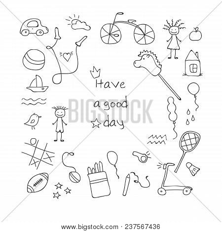 Children Drawing. Doodle Set Of Objects From A Child's Life. Vector Illustration.