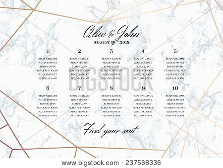 Wedding Seating Chart Poster Template.. Geometric Design In Rose Gold On The Marble Background. Dime