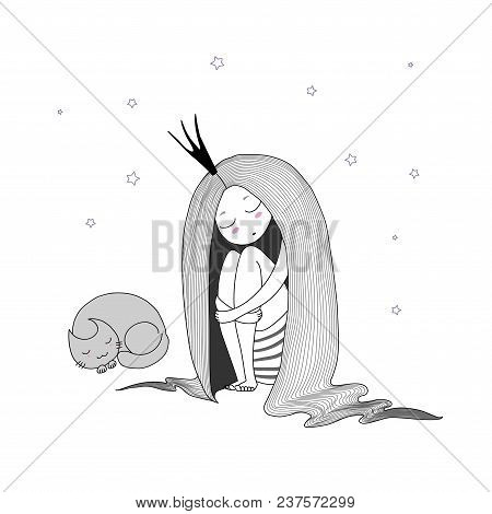 Hand Drawn Vector Illustration Of A Sleeping Princess With Long Hair And Cat Among The Stars. Isolat