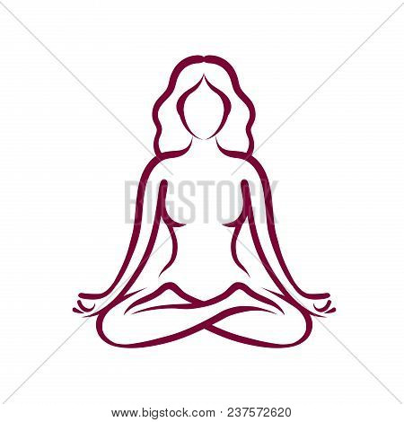 Yoga, Beauty, Health Logo Or Symbol. Abstract Girl Sitting In Lotus Pose. Vector Illustration Isolat