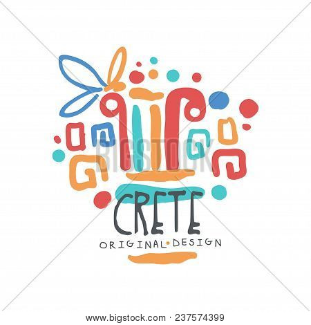 Crete Island Logo Template Original Design, Exotic Summer Holiday Badge, Label For A Travel Agency,