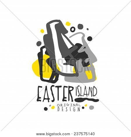 Easter Island Logo Template Original Design, Exotic Summer Holiday Badge, Label For A Travel Agency,