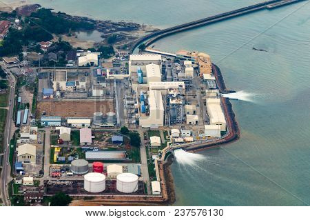 Aerial View Of An Industrial Plant That Uses Seawater And Returns It Back. Use Of Natural Resources,