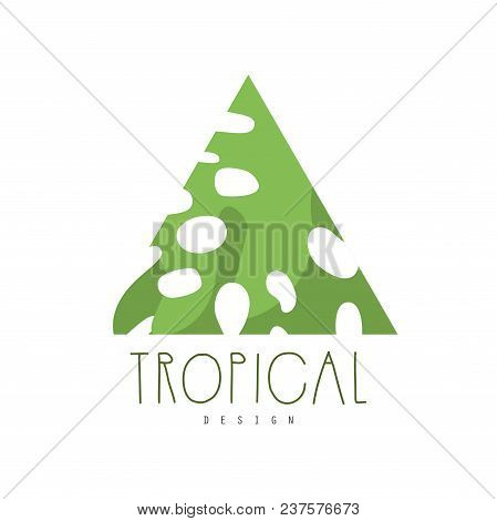 Tropical Logo Design, Triangle Badge Vector Illustration Isolated On A White Background.