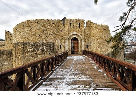 Throne Fortress In Suceava. The Ancient Fortress Of The Xiv Century Built By Peter I Musat. The Fort