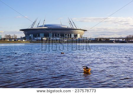 Saint-petersburg, Russia - April 22, 2018: View From Neva River And Finnish Gulf To New Stadium