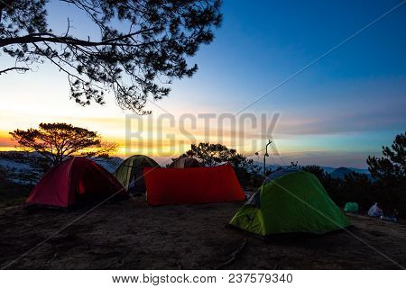 Outdoor Camping Vacation With Sunrise Landscape. Royalty High Quality Free Stock Image Of Camping Te