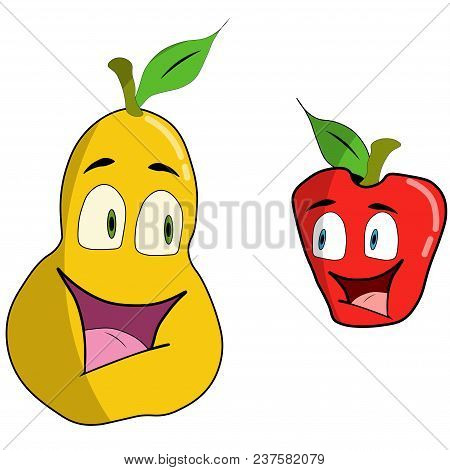 Cartoon Apple And Pear. Vector Illustration. The Anthropomorphous Person At Fruit. Isolated On A Whi