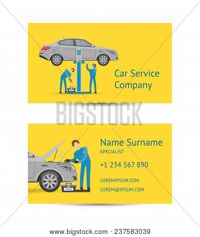Business Card Template For Auto Service Company. Mechanic In Uniform Repairing Automobile At Auto Se