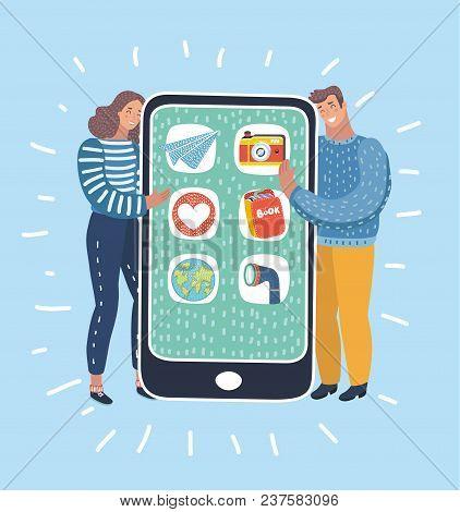 Vector Cartoon Illustration Of Cartoon Man And Woman Hug Big, Giant Smartphone. Internet Addiction,