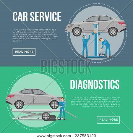 Car Diagnostics And Repair Services Flyers. Mechanic In Uniform Repairing Automobile At Auto Service