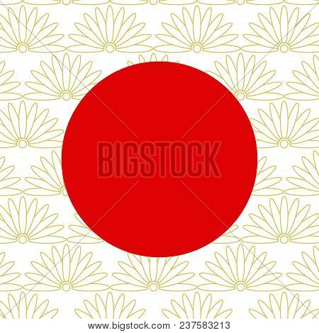 Red Circle On Abstract Japanese Golden Elements. Traditional Asian Lotus Symbols, Oriental Geometric