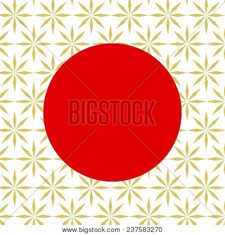 Traditional Japan Background With Red Circle On Golden Elements. Traditional Asian Lotus Symbols, Or