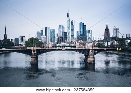Frankfurt Am Main Skyline With Main River On Clear Day