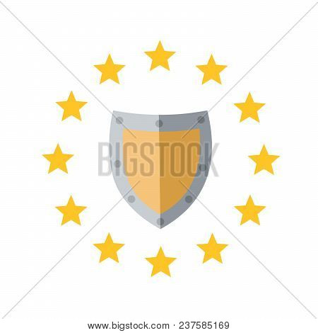 Image Of Shield In The Circle Of Stars. Eu Regulations. Protecting Your Personal Data. Gdpr, Rgpd, D