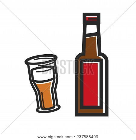 Traditional British Beer Of High Quality Promotional Poster. Bottle And Big Mug Of Alcohol Drink Wit