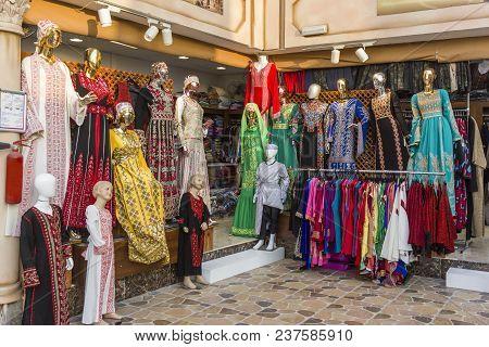 Abu Dhabi, United Arab Emirates-april 14, 2018: Arabic Clothing Store Front, United Arab Emirates