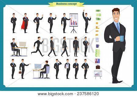 People Character Business Set.young Businessman In Formal Wear.different Poses And Emotions, Running