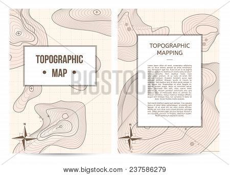 Topographic Mapping Company Banners With Space For Text. Abstract Lines Showing Elevation On Ground