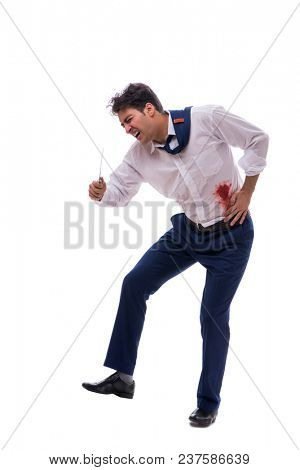Wounded businessman with blood stains isolated on white backgrou