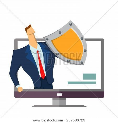 Man In Business Suit With A Shield Standing Out From Computer Monitor. Protecting Your Personal Data
