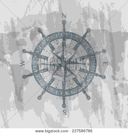 Detailed Antique Compass Windrose On Grunge Background Of World Map. Geography Research, Worldwide T